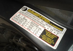Recommended PSI on door jam sticker